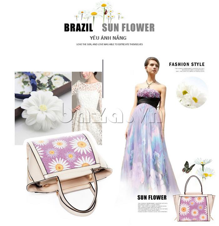 Túi xách nữ hoa hướng dương Binnitu 12253 đẹp