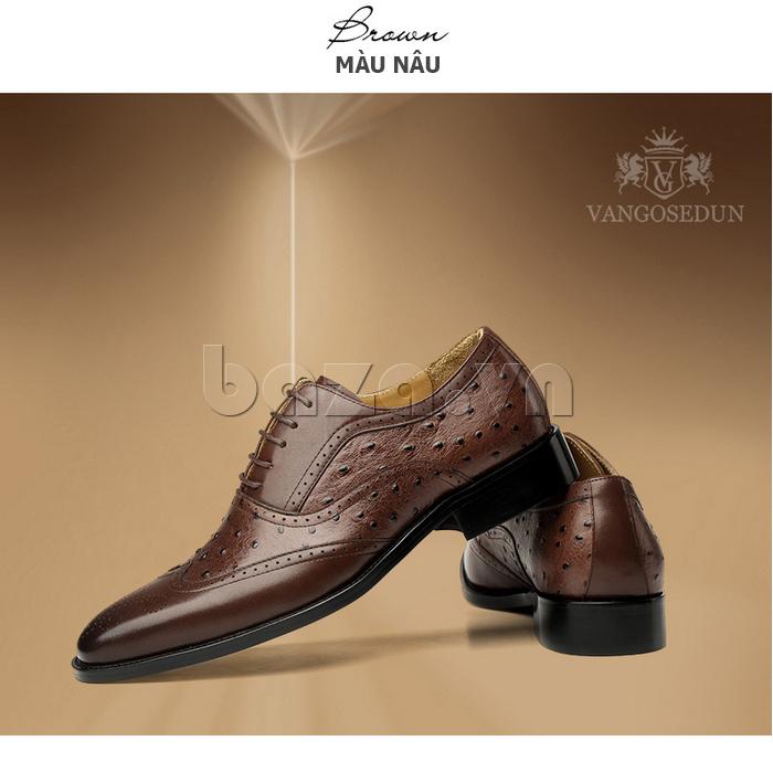 Giày da nam VANGOSEDUN VG78801  đục lỗ sang trọng