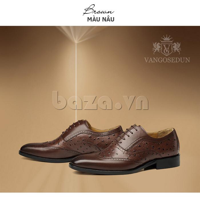 Giày da nam VANGOSEDUN VG78801  màu nâu thời trang
