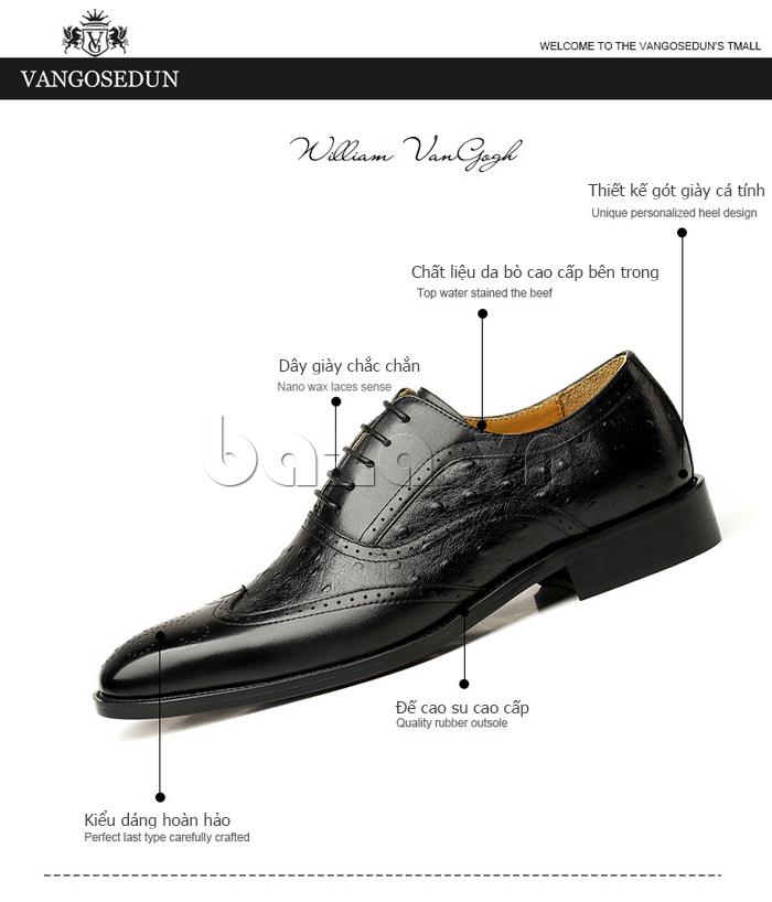 Giày da nam VANGOSEDUN VG78801  sử dụng da bò cao cấp bên trong