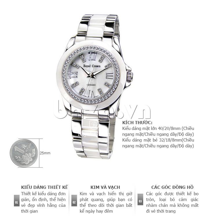 Đồng hồ thời trang dây đeo gốm sứ Royal Crown 6412