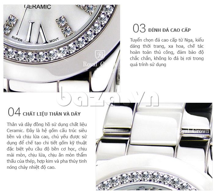 Thiết kế của Đồng hồ thời trang mặt tròn gốm sứ Royal Crown 6412
