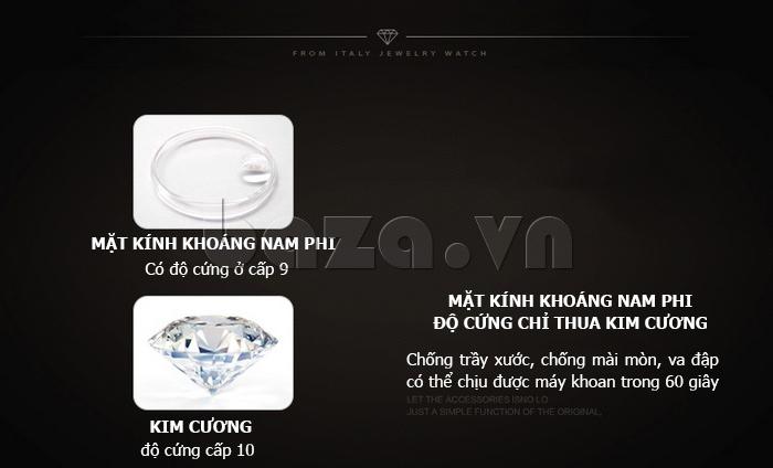 Đồng hồ thời trang mặt tròn gốm sứ Royal Crown 6412 - mặt kính khoáng