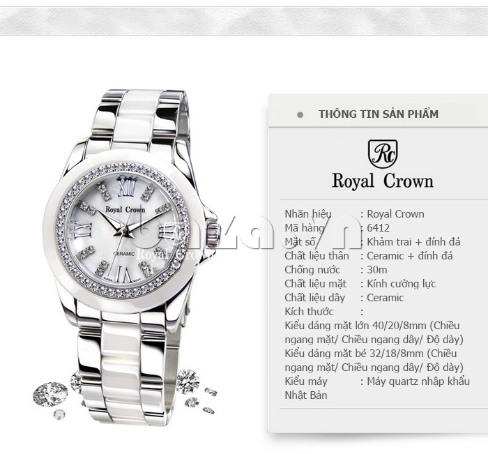 Đồng hồ thời trang gắn pha lê Royal Crown 6412