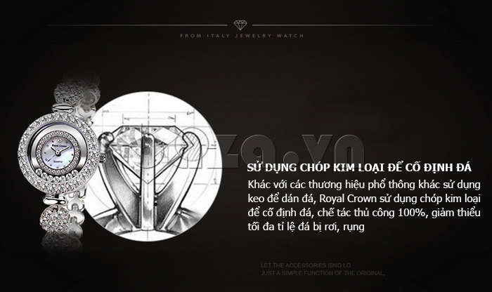 Đồng hồ thời trang mặt tròn gốm sứ Royal Crown 6412  - chất lượng