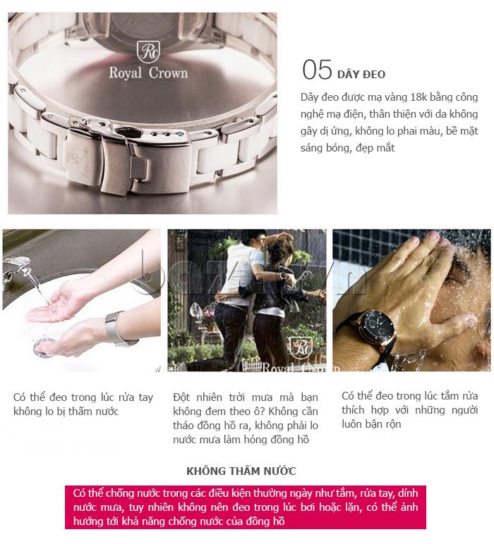 Đồng hồ nữ thời trang mặt tròn gốm sứ Royal Crown 6412