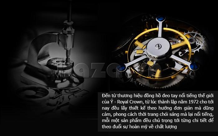 Đồng hồ thời trang mặt tròn gốm sứ Royal Crown 6412  bền bỉ