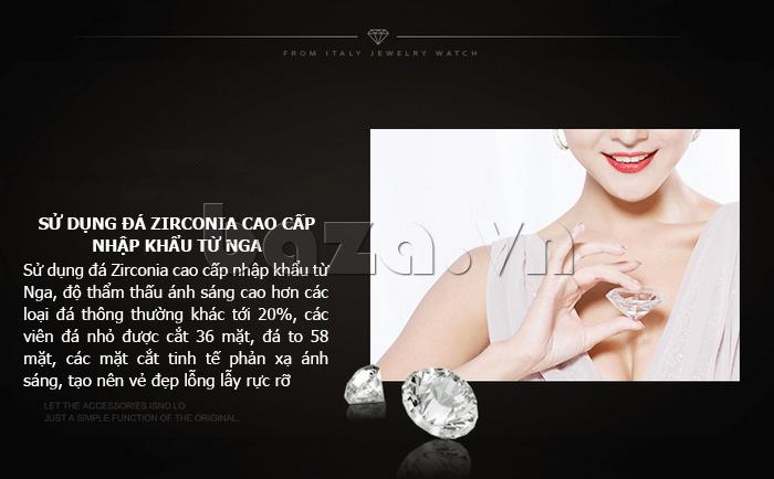 Đồng hồ thời trang mặt tròn gốm sứ Royal Crown 6412  - gắn đá Zircon cao cấp