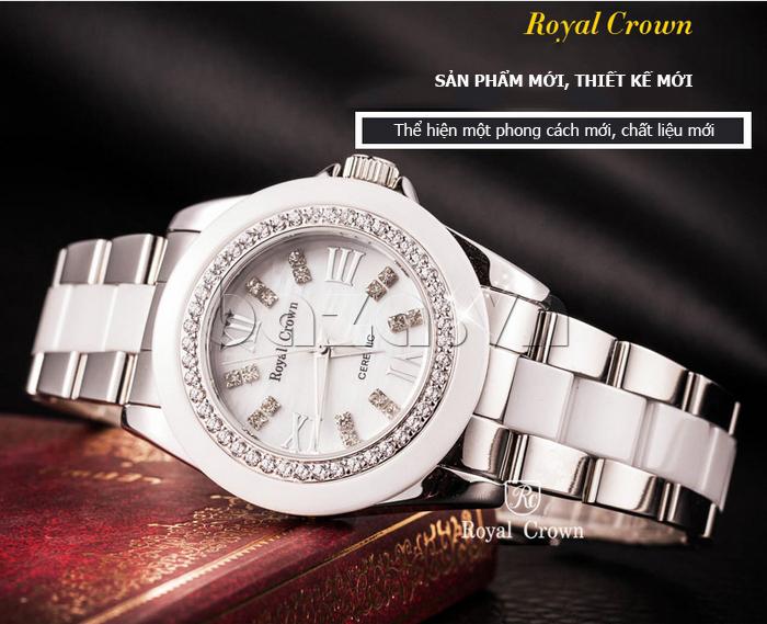 Đồng hồ nam mặt tròn gốm sứ Royal Crown 6412