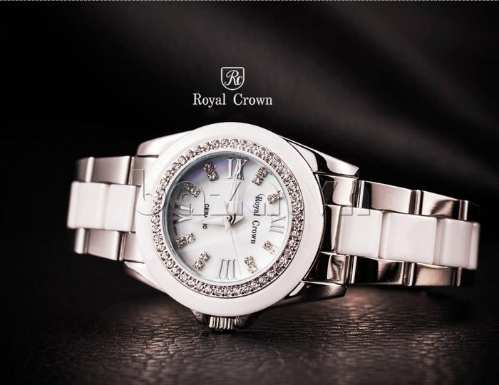Đồng hồ thời trang nam mặt tròn gốm sứ Royal Crown 6412