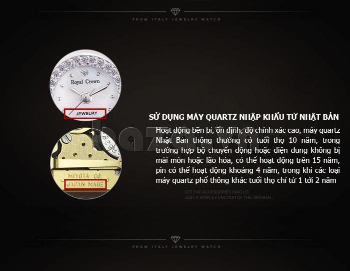 Đồng hồ thời trang mặt tròn gốm sứ Royal Crown 6412  - máy quartz nhập khẩu