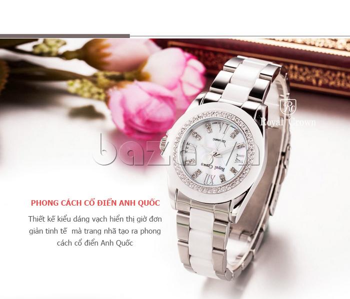 Đồng hồ nữ phong cách Anh QUốc Royal Crown 6412