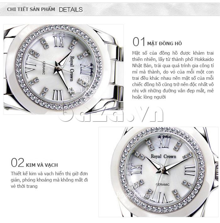 Ưu điểm của Đồng hồ thời trang mặt tròn gốm sứ Royal Crown 6412