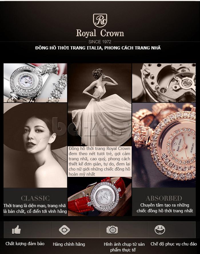 Đồng hồ thời trang mặt tròn gốm sứ Royal Crown 6412  chính hãng