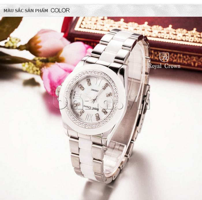 Đồng hồ thời trang mặt tròn gốm sứ Royal Crown 6412