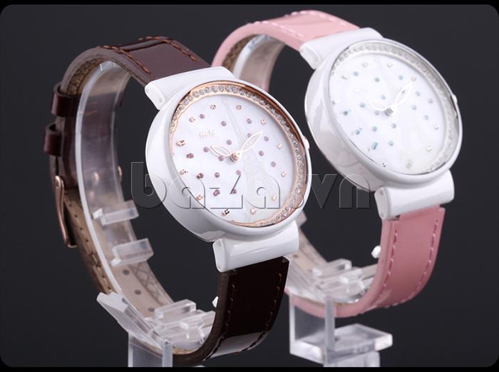 Đồng hồ nữ Mini Kinh đô ánh sáng dây màu cà phê, màu hồng