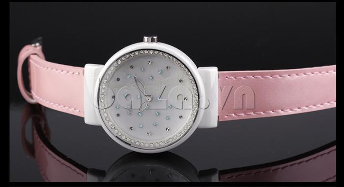 Đồng hồ nữ Mini Kinh đô ánh sáng dây hồng duyên dáng