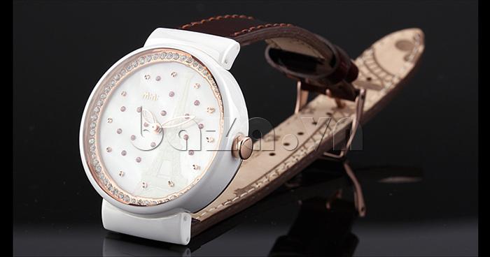 Đồng hồ nữ Mini Kinh đô ánh sáng dây da bên trong có họa tiết