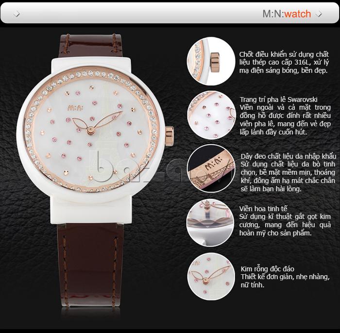 Đồng hồ nữ Mini Kinh đô ánh sáng có đường viền tinh tế, kỹ thuật cắt kim cườn hoàn mỹ