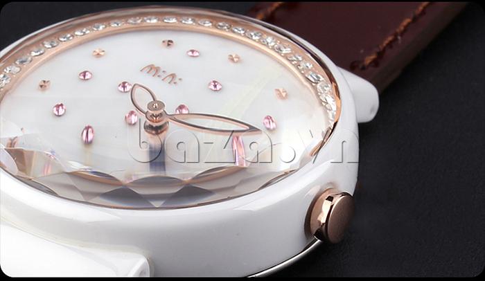 Đồng hồ nữ Mini Kinh đô ánh sáng pha lê nhiều màu sắc, kim trạm rỗng đẹp mắt