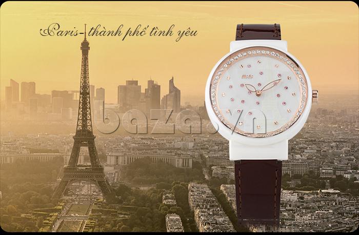 Đồng hồ nữ Mini Kinh đô ánh sáng biểu tượng của Paris- thành phố tình yêu