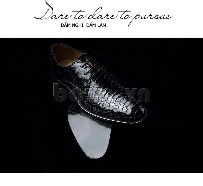 Giày da nam VANGOSEDUN Y1012 màu đen họa tiết da rắn