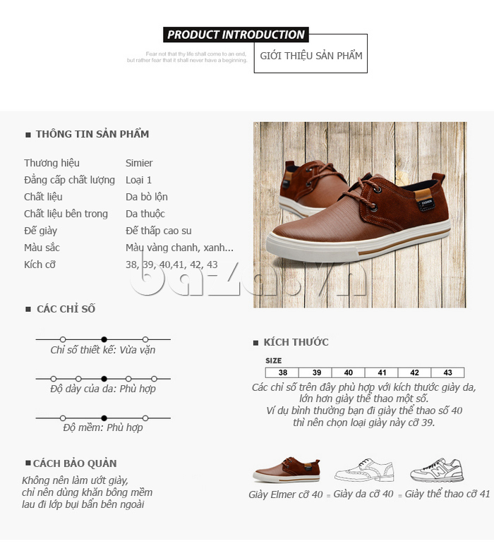 Giầy nam da bò Simier 8109 - chọn giầy phù hợp