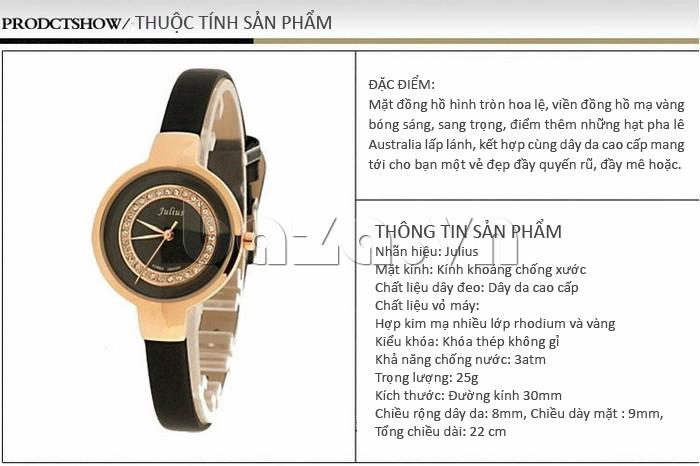 Các thuộc tính của sản phẩm: Đồng hồ nữ Julius JA-680
