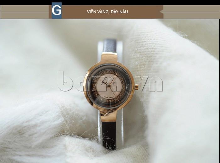 Đồng hồ nữ Julius JA-680 viền vàng, dây nâu