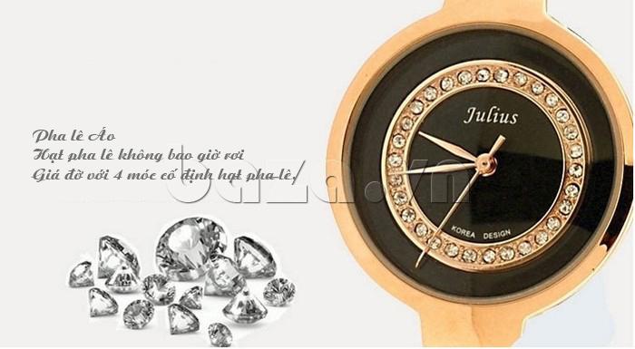 Đồng hồ nữ Julius JA-680 pha lê Áo hạt pha lê không bao giờ rơi do giá đỡ bên dưới