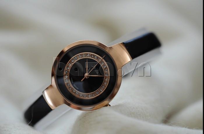 Đồng hồ nữ Julius JA-680 mặt đen- viền vàng