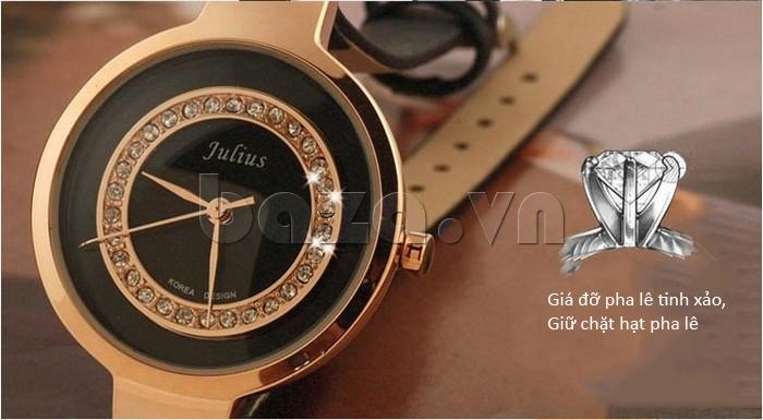 Đồng hồ nữ Julius JA-680 đính pha lê bởi phương pháp thủ công chắc chắn