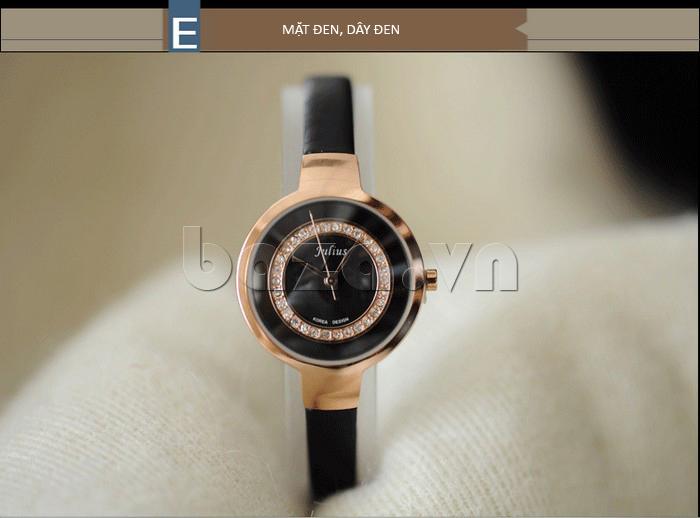 Đồng hồ nữ Julius JA-680 mặt đen - dây đen
