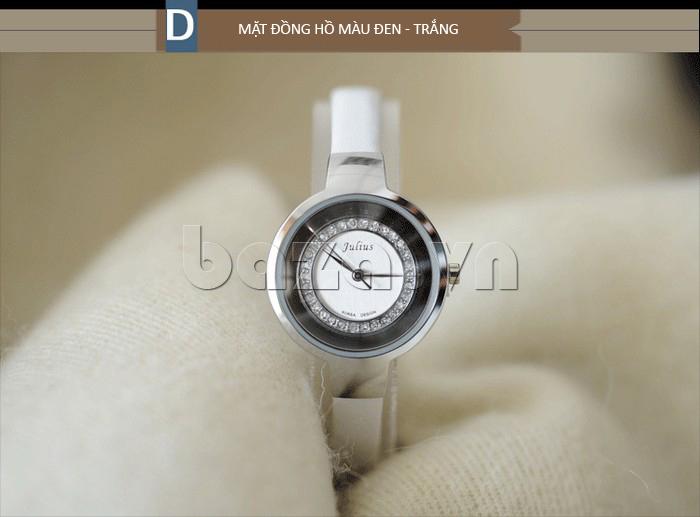 Đồng hồ nữ Julius JA-680 mặt đen đường viền trắng