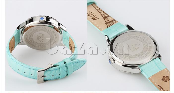 Đồng hồ nữ Mini Moment to Remember dây da xanh, mặt kính chịu lực tốt