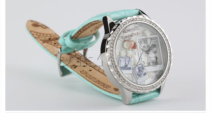 Đồng hồ nữ Mini Moment to Remember dây da màu xanh