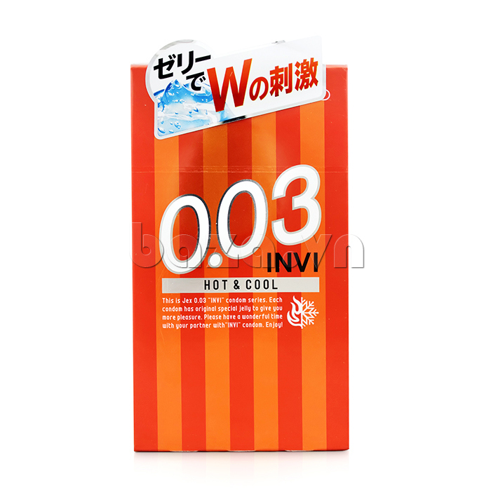 Bao cao su siêu mỏng Jex INVI 003 Hot & Cool thiết kế mới lạ