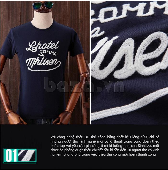 Áo T-Shirt nam cổ tròn thêu chữ 3D Sinhillze 804