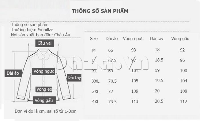 Kích cỡ Áo T-Shirt nam cổ tròn thêu chữ Sinhillze 804