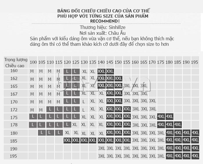 bảng size Áo T-Shirt nam cổ tròn thêu chữ Sinhillze 804