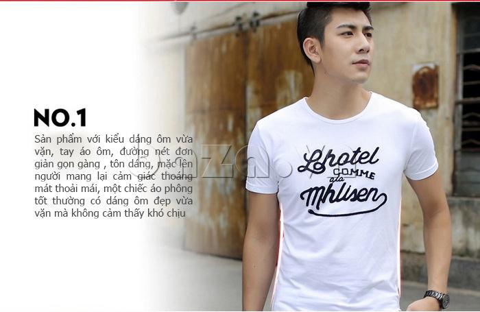 Áo T-Shirt nam cổ tròn thêu chữ Sinhillze 804