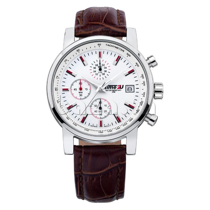 đồng hồ nam Time2U Topspeed thiết kế ba mặt đồng hồ phụ