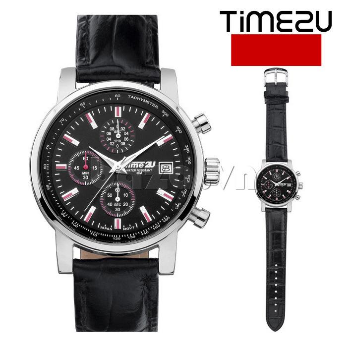 đồng hồ nam Time2U Topspeed mặt đen dây đen
