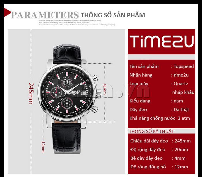đồng hồ nam Time2U Topspeed sử dụng bộ máy quartz nhập khẩu
