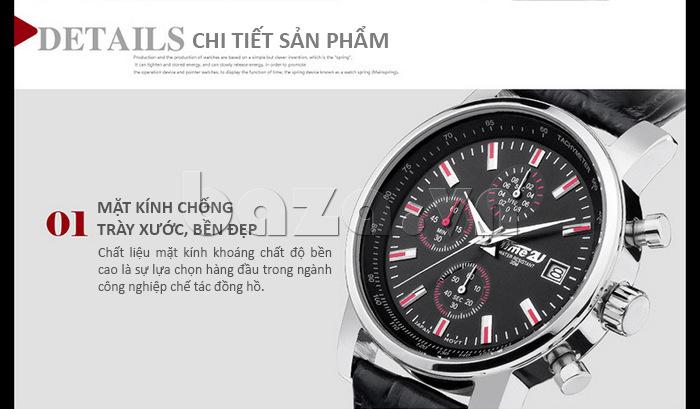 Mặt đồng hồ nam Time2U Topspeed  chất liệu kính khoáng chống trầy xước