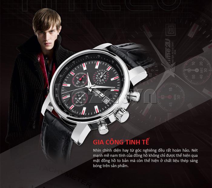 đồng hồ nam Time2U Topspeed được gia công hết sức tinh tế