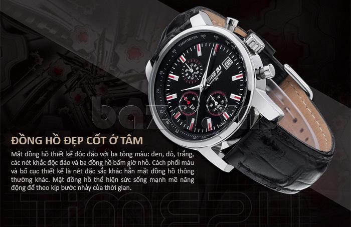 đồng hồ nam Time2U Topspeed với mặt thiết kế độc đáo ba tông màu