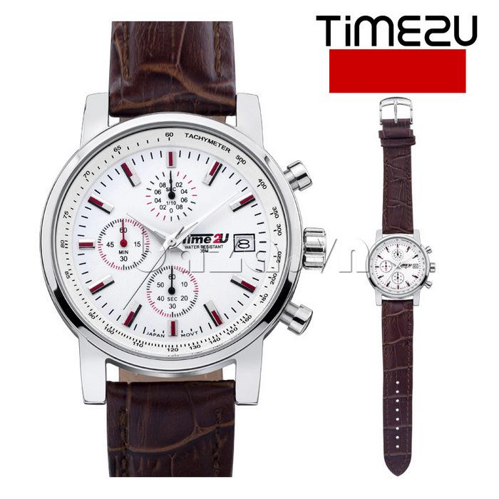 đồng hồ nam Time2U Topspeed mặt trắng dây nâu