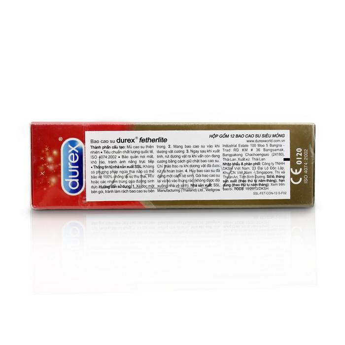Bao cao su siêu mỏng Durex Fetherlite  - chất liệu cao su tự nhiên