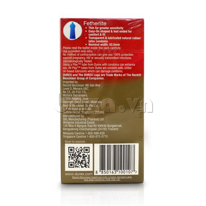Bao cao su siêu mỏng Durex Fetherlite - hỗ trợ tình dục mang thương hiệu Thái Lan
